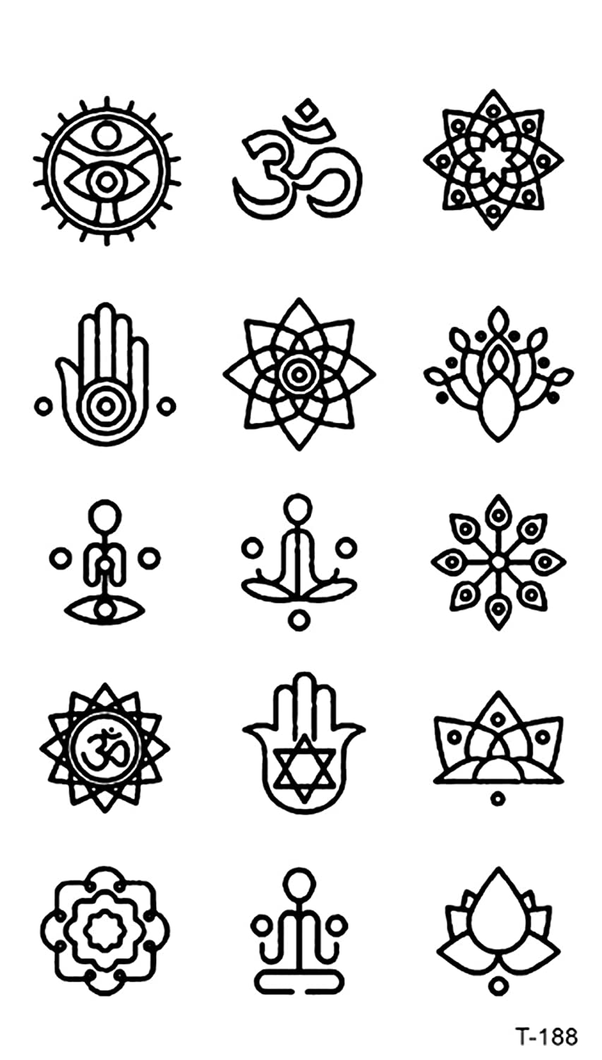 Hamsa Mandala Mini Small Temporary Tattoo Fake Tatoos