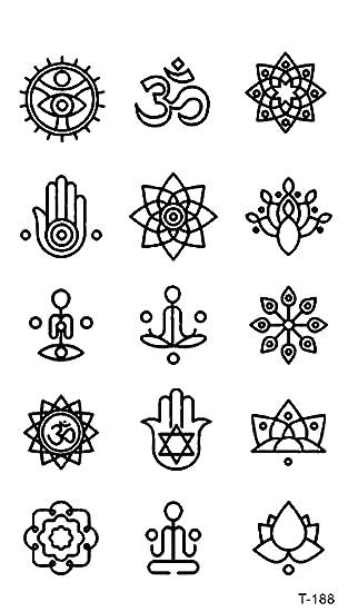 705a81367 Amazon.com: hamsa mandala mini small temporary tattoo fake tatoos: Clothing