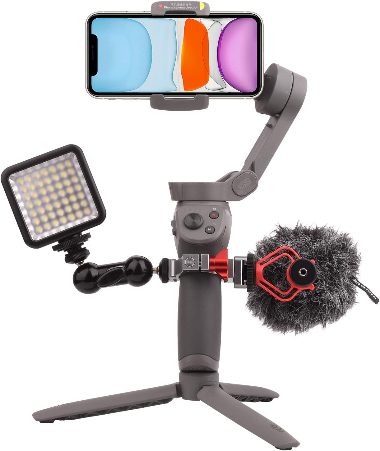 """Woohoto O-Ring,Applied to Microphone and LED Light Accessory Via 2 Cold Shoe Mount /& Three 1//4/"""" Thread Ports Hot Shoe Adapter for DJI Osmo Mobile 3"""