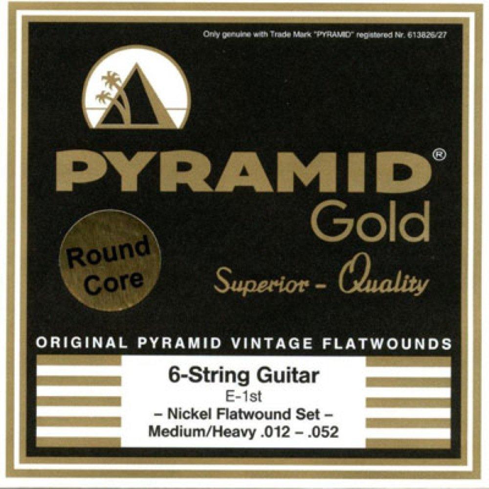 PYRAMID STRINGS EG Gold 012-052 フラットワウンド エレキギター弦×6セット B07FNLSKY3