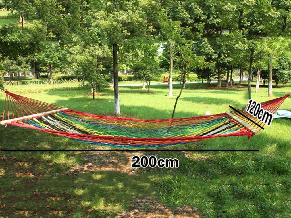 Hängematte Outdoor Freizeit Bunte Net Canvas Camping Outdoor Home 200  120cm, Ohne Stent -Ultralight Bequeme