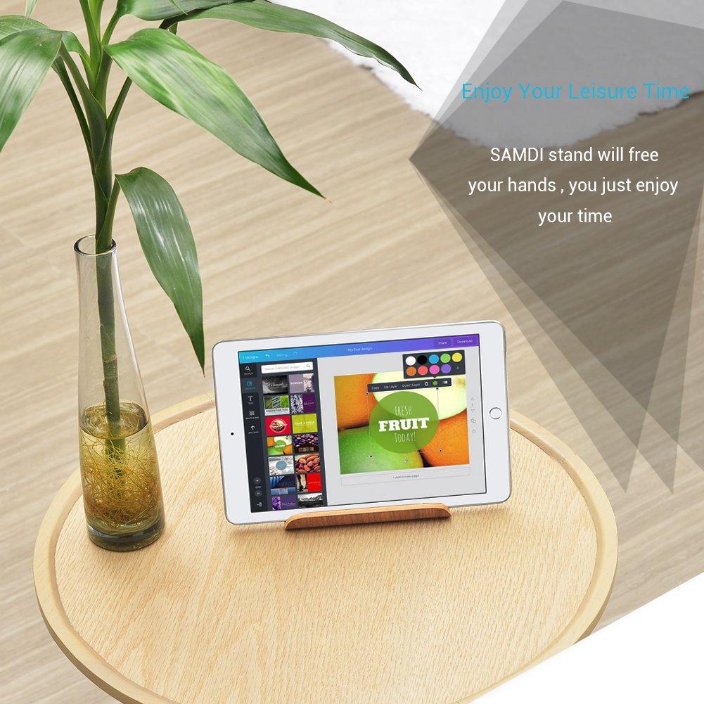 Universal Madera Tablet PC Soporte de tel/éfono Soporte para Apple iPad Mini Air 2 3 4 iPhone 6 Samsung 10.1 Galaxy S5 S4 Lenovo LG Google Nexus PAD Nogal Negro SAMDI Soporte de Madera para iPad