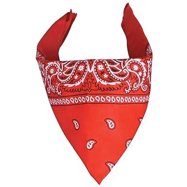 Foulard bandana tour de cou - Paisley USA rouge - Country - Cowboy - Moto d1a3f4d69c5