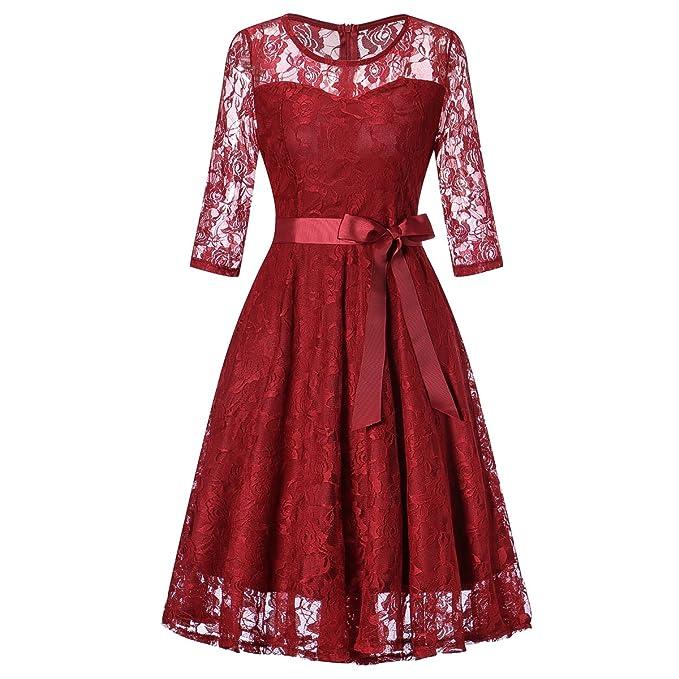 da98dc184 HENCY Vestido Mujer Corto De Encaje 3 4 Mangas con Lazo para Madrina Fietsa  Cuello Redondo Borgoña Xlarge  Amazon.es  Ropa y accesorios