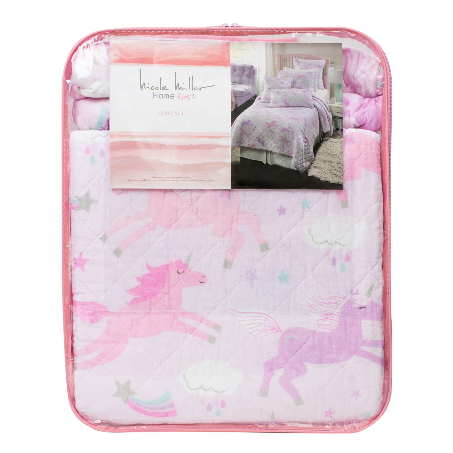 Nicole Miller 2 Piece Twin Single Bed Magical Pastel Unicorns Cotton Quilt Set Unicorns Clouds Stars Purple Pink Mint White
