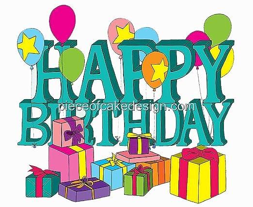 Feliz Cumpleaños letras & Regalos Cumpleaños ~ Edible imagen ...