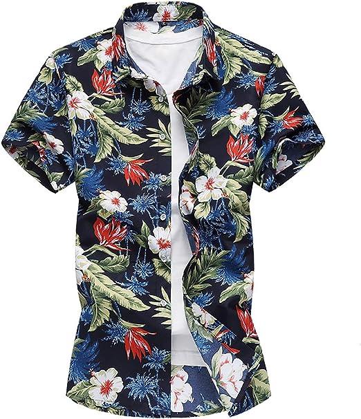 W&TT Hombres Floral Vestido Camisas Casual botón Abajo Camisa de Manga Corta (más tamaño),Black1,2XL: Amazon.es: Hogar