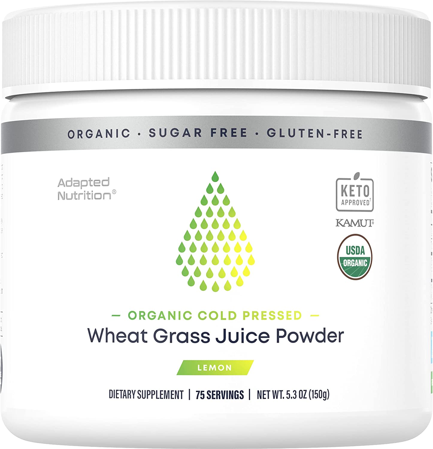Organic Cold Pressed Wheat Grass Juice Powder With Kamut | Boost Your Energy, Promotes Detox & Immune Support | Rich in Chlorophyll & Trace Minerals | No Maltodextrin or Sugar | Delicious Lemon Flavor