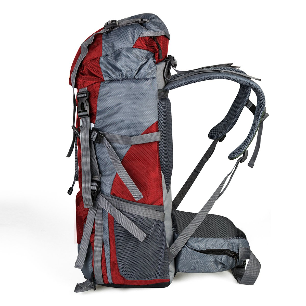 60+5L Water Resistant Hiking Backpack Outdoor Bag for Camping Climbing Mountaineering Travel Daypack Size 12.2\'\'x 9.8\'\'x 29.9\'\' (Red)
