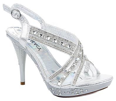 87994c3961b JJF Shoes Women Decent62 Silver Crystal Rhinestone Cross Strap Slingback  Platform High Heel Pump Dress Sandals