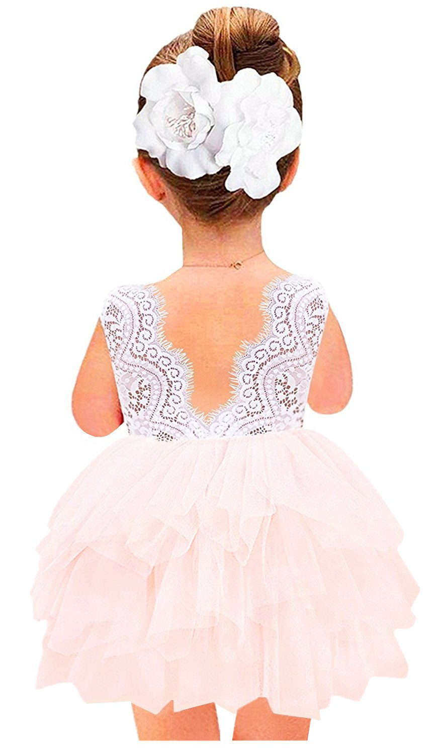 2Bunnies Girl Baby Girl Beaded Backless Lace Back Tutu Tulle Flower Girl Party Dress (Pink Sleeveless Short, 12 Months)