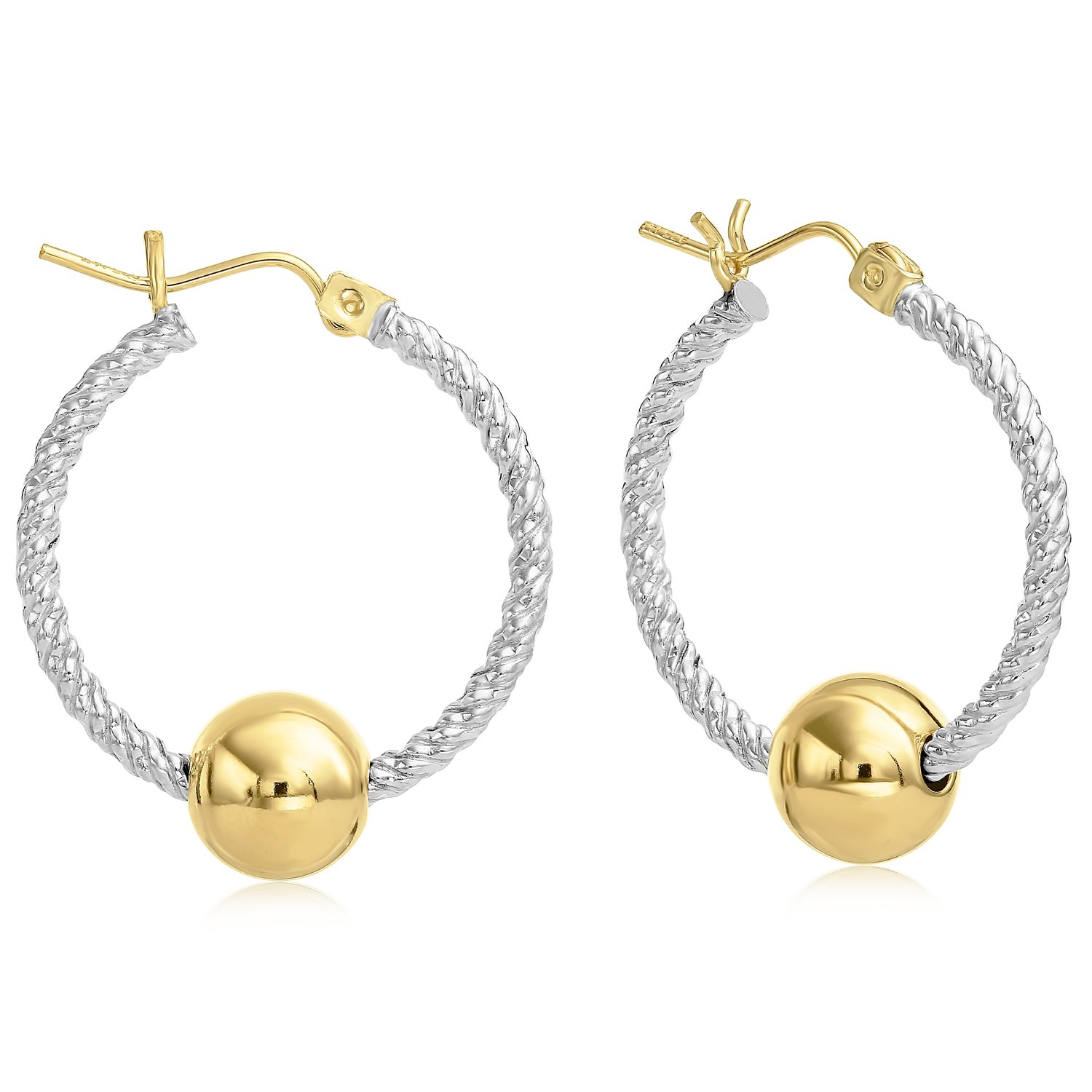 Premium Ocean side 14k Gold and Twisted Sterling Silver Earrings, Gold Post and Hinge - Small