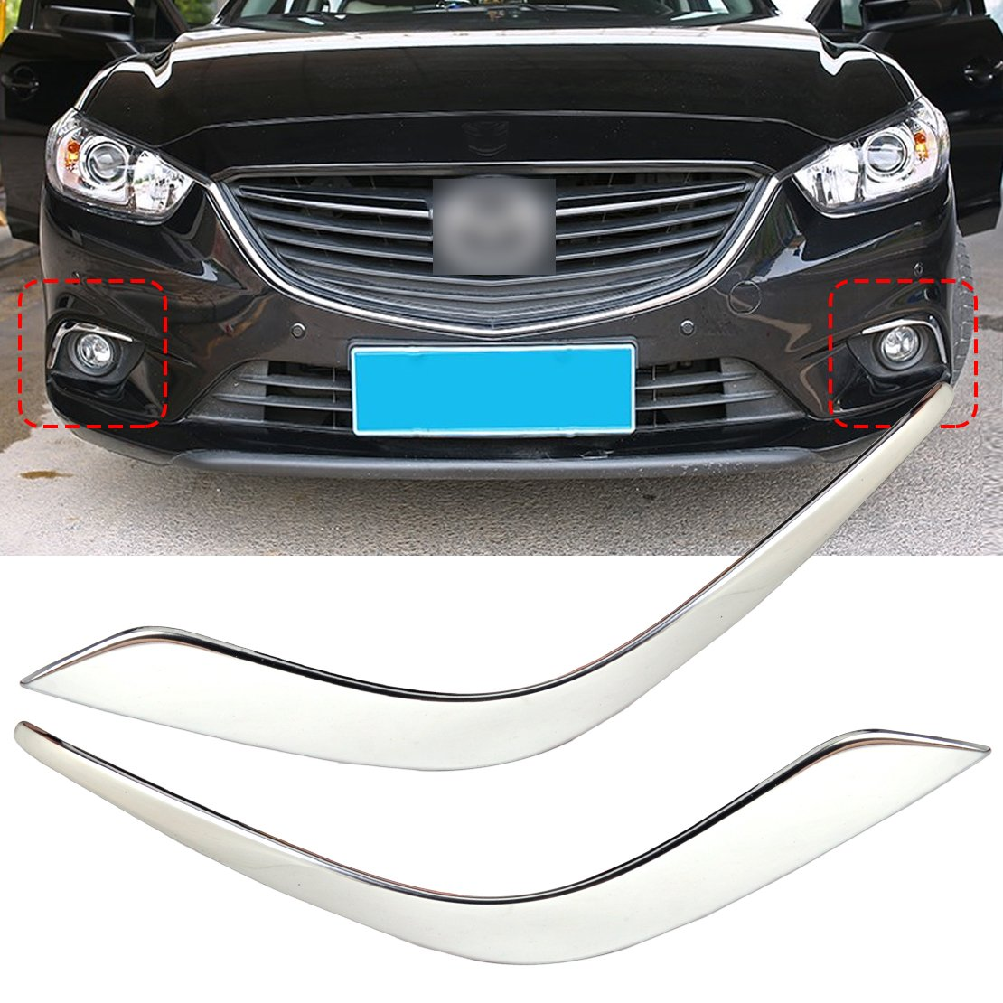 beler Chrome Finish Front Fog Light Lamp Eyebrow Trim Cover Decoration Decor For Mazda 6 Atenza 2013-2016 hermeshine