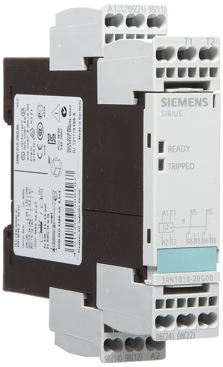 Siemens 3RN1010-2BG0 0 Thermistor Motor Protection Relay 22.5mm Width 2 CO Contacts Standard Evaluation Units 2 LEDs Cage Clamp Terminal Auto Reset 110VAC Control Supply Voltage