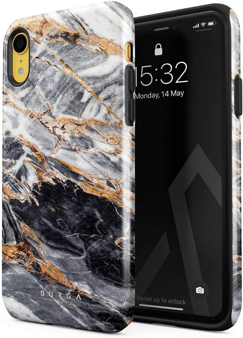 BURGA Phone Case Compatible with iPhone XR - Black and Gold Marble Stone Cute Case for Girls Heavy Duty Shockproof Dual Layer Hard Shell + Silicone Protective Cover