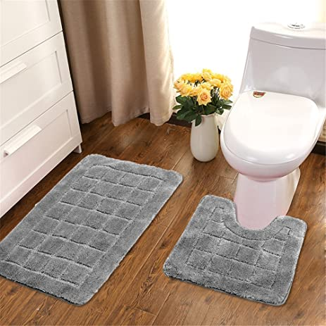HEBE Bathroom Contour Rug Set Washable Bath Shower Mat With U Shaped Toilet  Rug For