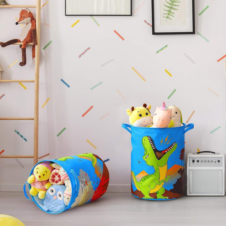 FIOBEE Dinosaur Laundry Hampers Canvas Storage Bin Waterproof Storage Basket Toy Organizer with Handles Home D/écor for Nursery Kids Boys Bedroom Clothes