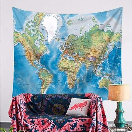 lbonb Tapiz De Pared Acuarela Mapa del Mundo Tapiz Arte ...
