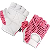 Gel Padded Leather Gym Gloves Fitness Cycling Weight Lifting Sports Wheelchair Pink/white W-1024