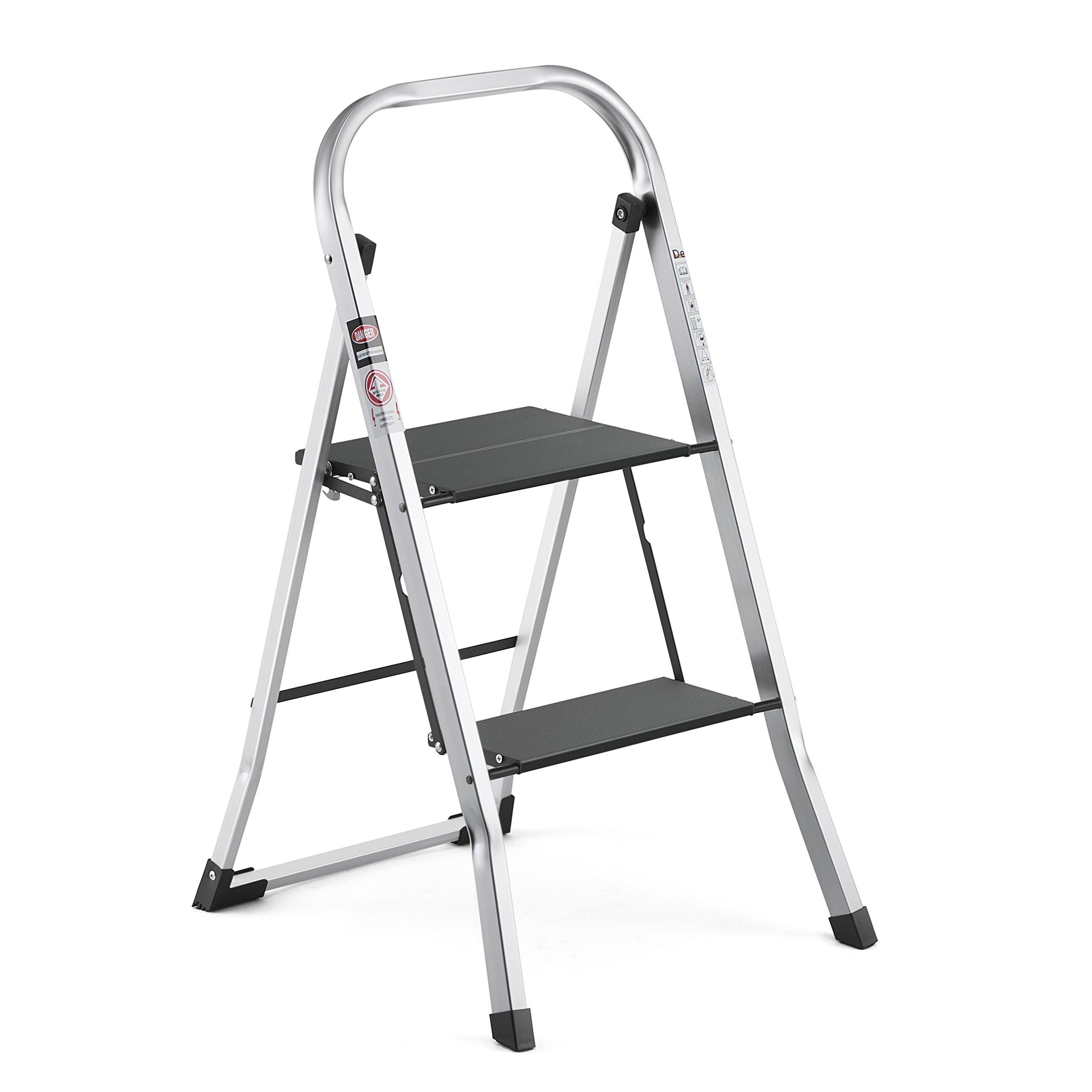Details About Delxo Upgrade Lightweight Aluminum 2 Step Ladder Step Stool  Single Hand Carry