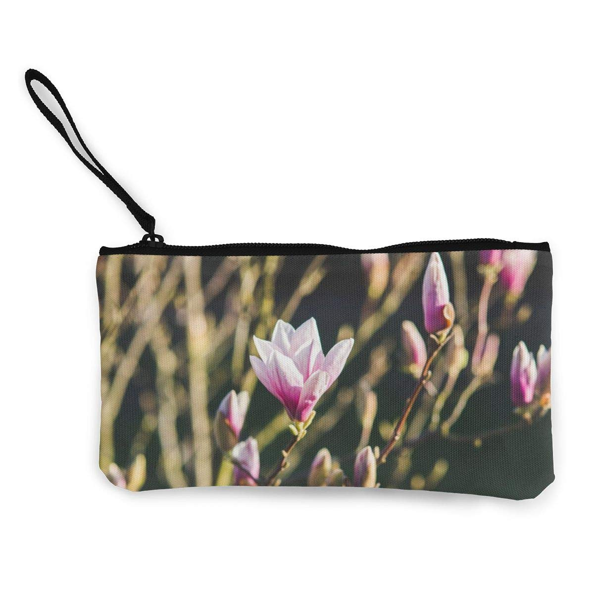 Make Up Bag,Cellphone Bag With Handle Magnolia-tree-in-pink-blossom Zipper Canvas Coin Purse Wallet