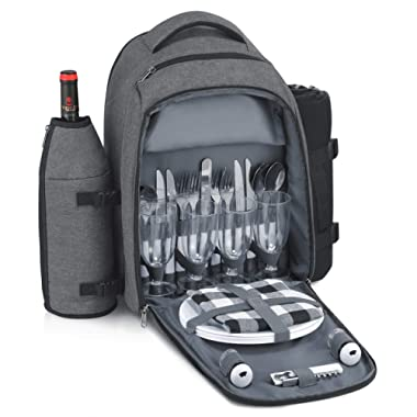 Gonex Picnic Backpack Bag 4 Person Insulated Cooler Compartment, Fleece Blanket, Detachable Wine Holder, Cutlery Set (Gray)