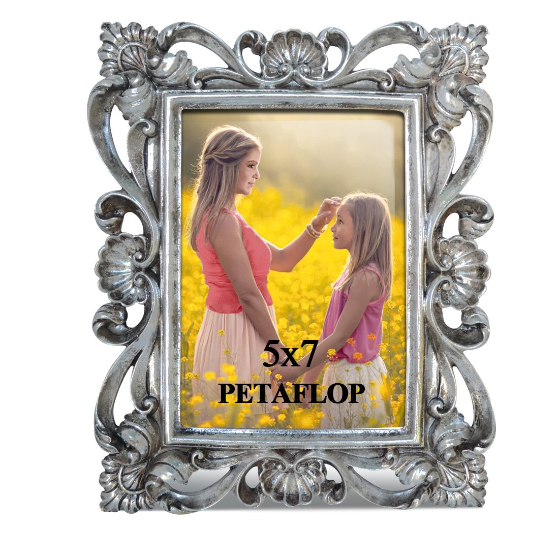 PETAFLOP 5 by 7 Creative Picture Frame with Real Glass Tabletop Display for 5x7 Photo, Silver PETAFLOPS IMP 5x7CH180310