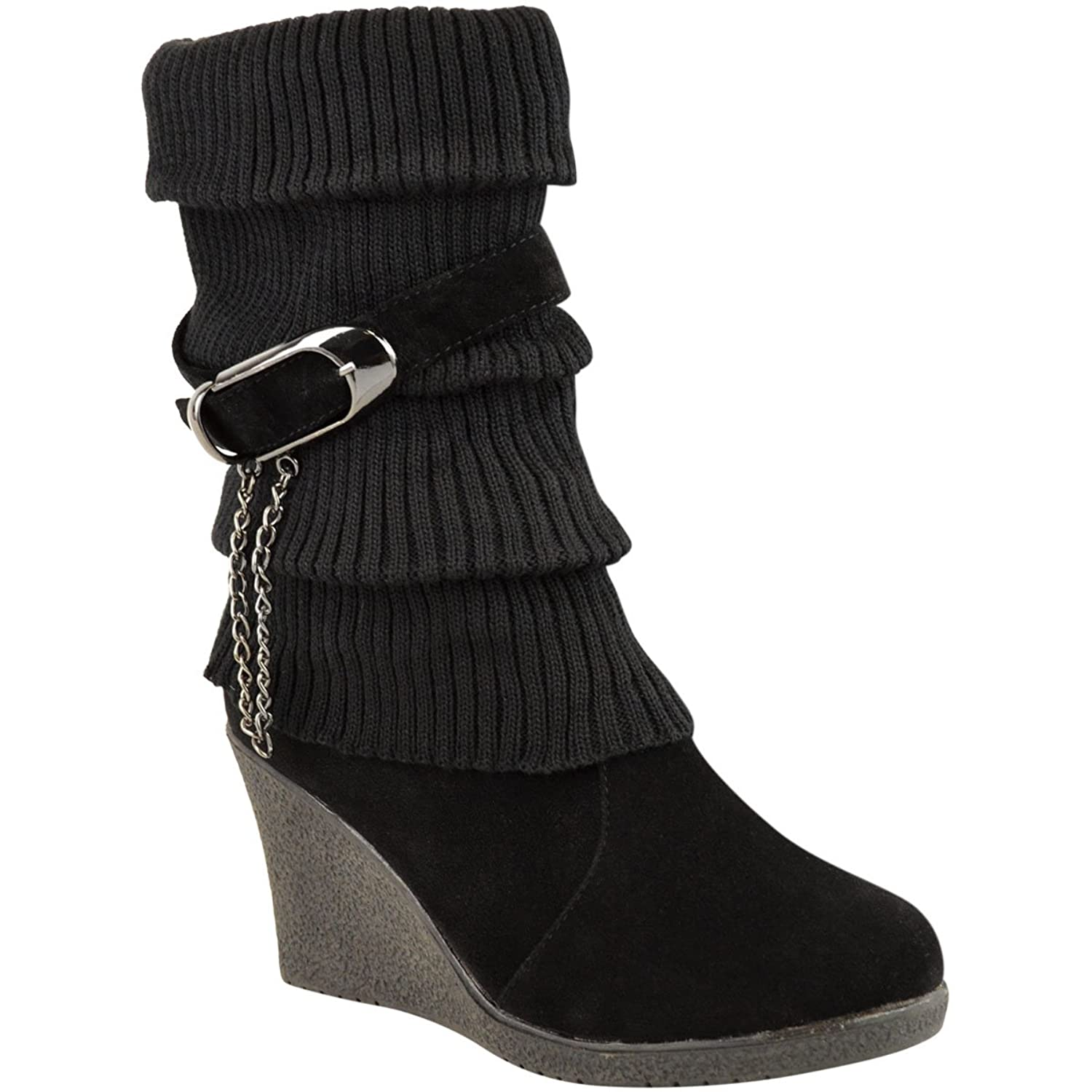 Amazon.com | Fashion Thirsty Womens Mid High Wedge Heel Knitted ...