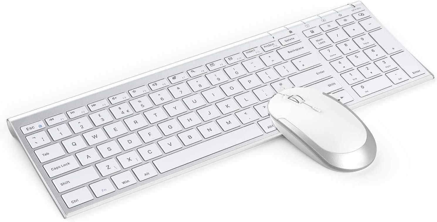 Jelly Comb - Teclado inalámbrico y ratón con teclado inalámbrico recargable de 2.4 G QWERTY Reino Unido y ratón con receptor USB para PC/ordenador portátil/computadora, color blanco y plateado