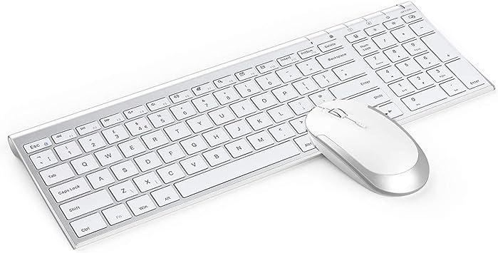 Jelly Comb Teclado inalámbrico y ratón combinado, teclado inalámbrico recargable de 2,4 G, diseño de Reino Unido y ratones con receptor USB para PC, ...