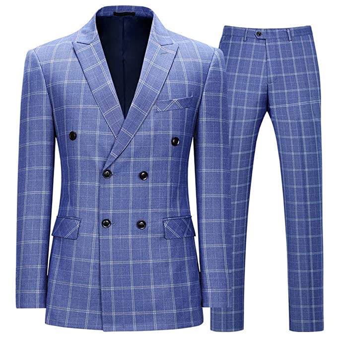 classic chic best deals on nice cheap Mens Tweed Suit Double Breasted Peak Lapel Plaid Suits 2 ...