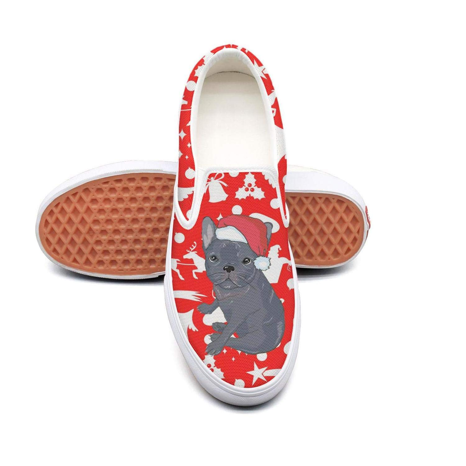 Vosda Elf Red Christmas Decoration Ball Classic Women Canvas Slip-Ons Loafer Shoes Sneaker