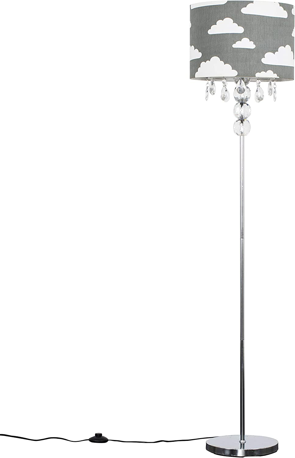 Modern Silver Chrome & Clear Acrylic Ball Floor Lamp with a