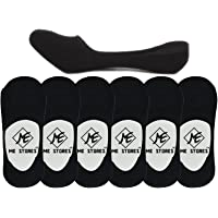 Me Stores Men's Solid Socks Loafer Socks with Silicon Anti skit support (Black Colour) (Pack Of 6)