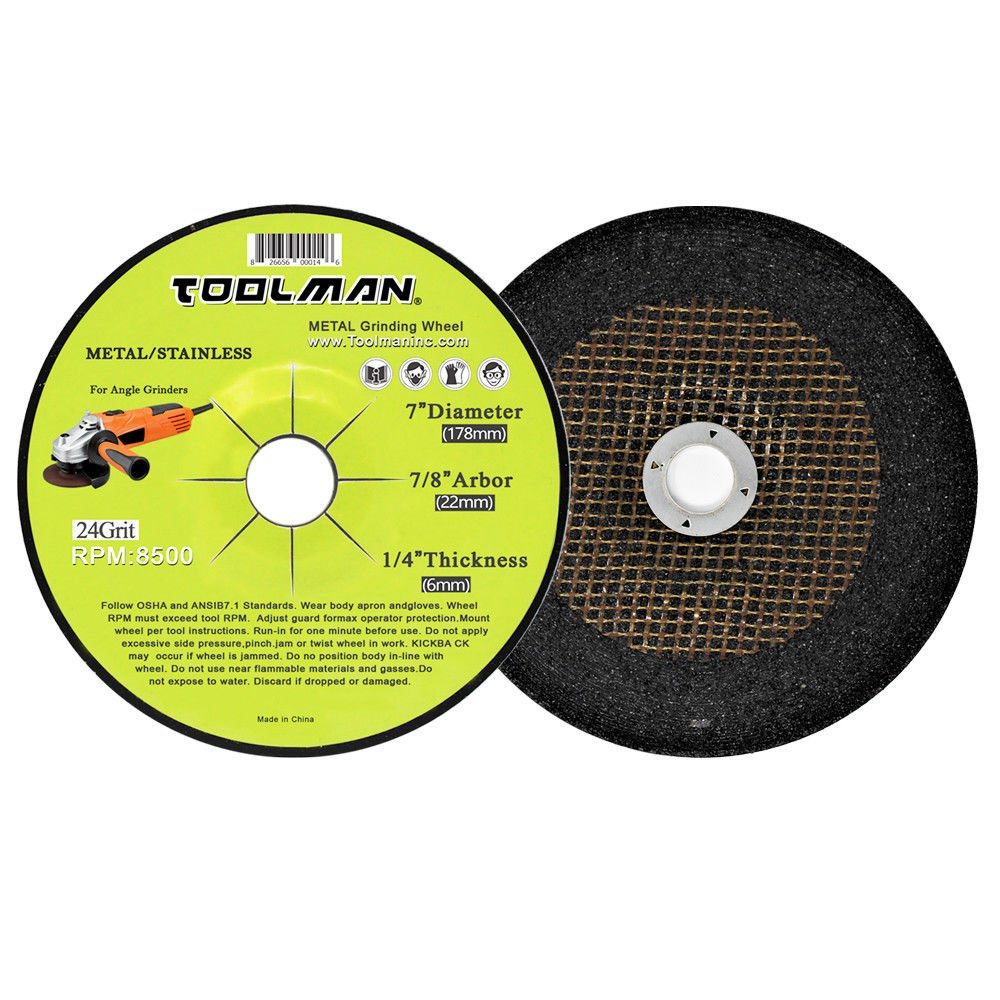 Toolman Premium Cut Off Cutting Wheel Universal Fit 5pcs 24 Grit 8500 rpm - 7'' x 7/8'' x 1/4'' for metal and stainless steel works with DeWalt Makita Ryobi