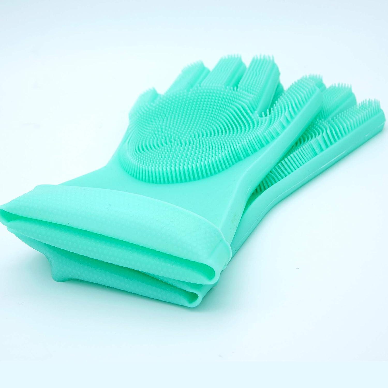 resistenti al calore antiscivolo riutilizzabili 35 cm grande per cucina 1 paio verde auto bagno Guanti in silicone per lavare i piatti con setole lunghe e resistenti