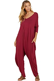 08a67ee6b53 Annabelle Women s Solid Harem Pant Long Sleeve Pocket Harem Pant Jumpsuit