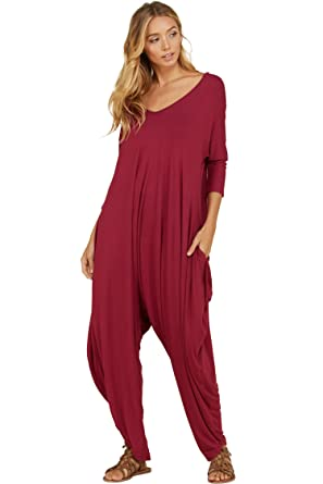 56b8de66764 Annabelle Women s Back Open Cross Jumpsuit 3 4 Sleeve Sweetheart Neck with  Side Pockets Berry