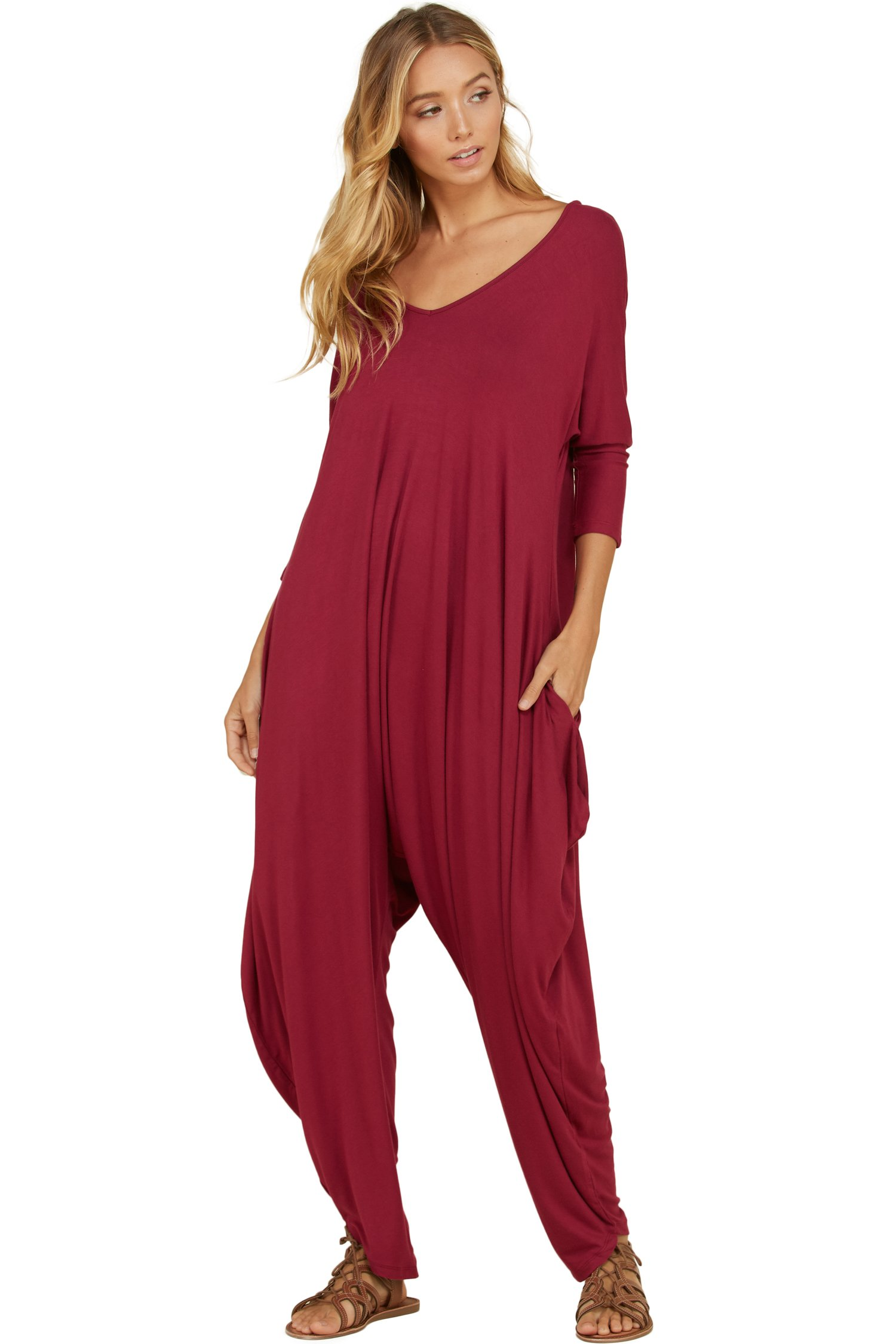 Annabelle Women's Harem Bottom Back Cut Out Detail Full Length Solid Plus Size Jumpsuit XX-Large Berry JC6008X