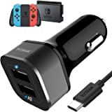 Car Charger for Nintendo Switch - YCCTEAM 5V/4.8A High Speed Play and Charge Two-Port USB Adapter with 6.6ft USB Type C to A Charger Cable Cord