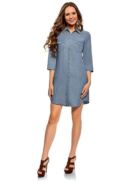 8f84c4b1cd oodji Ultra Mujer Vestido Camisa de Lyocell  Amazon.es  Ropa y accesorios