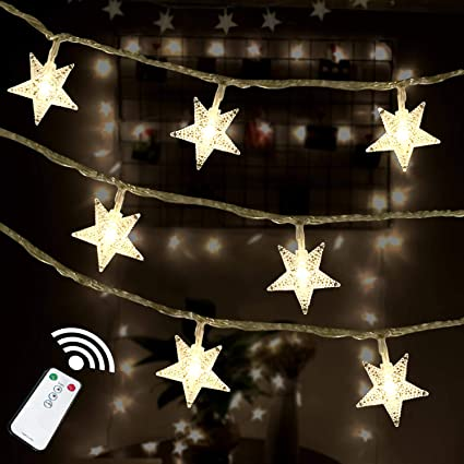 pretty nice 05683 da1a5 HOTINS Star String Lights 100 LED Remote Control Plug in LED Fairy String  Lights for Wedding Party Patio Christmas Tree Holiday Indoor Outdoor  Bedroom ...