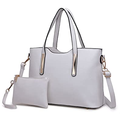 5d3a69e91a Miss Lulu Fashion Ladies Faux Saffiano Leather Bag 2 Pieces Tote Shoulder  Handbags for Women White  Amazon.co.uk  Shoes   Bags