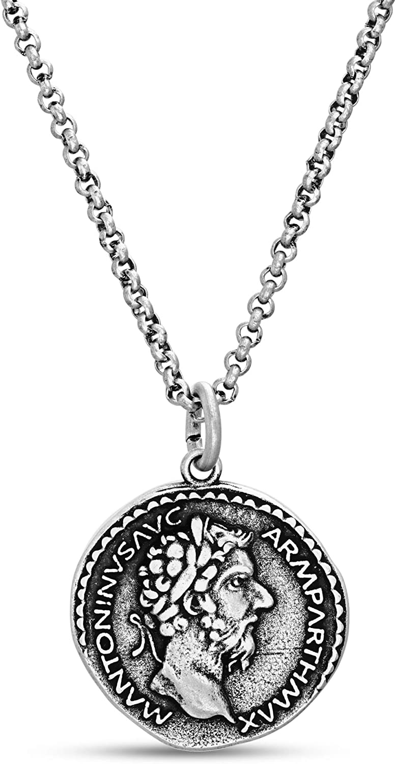 Steve Madden Men's Oxidized Marcus Aurelius Roman Coin Design Pendant Chain Necklace in Stainless Steel, Silver, 28