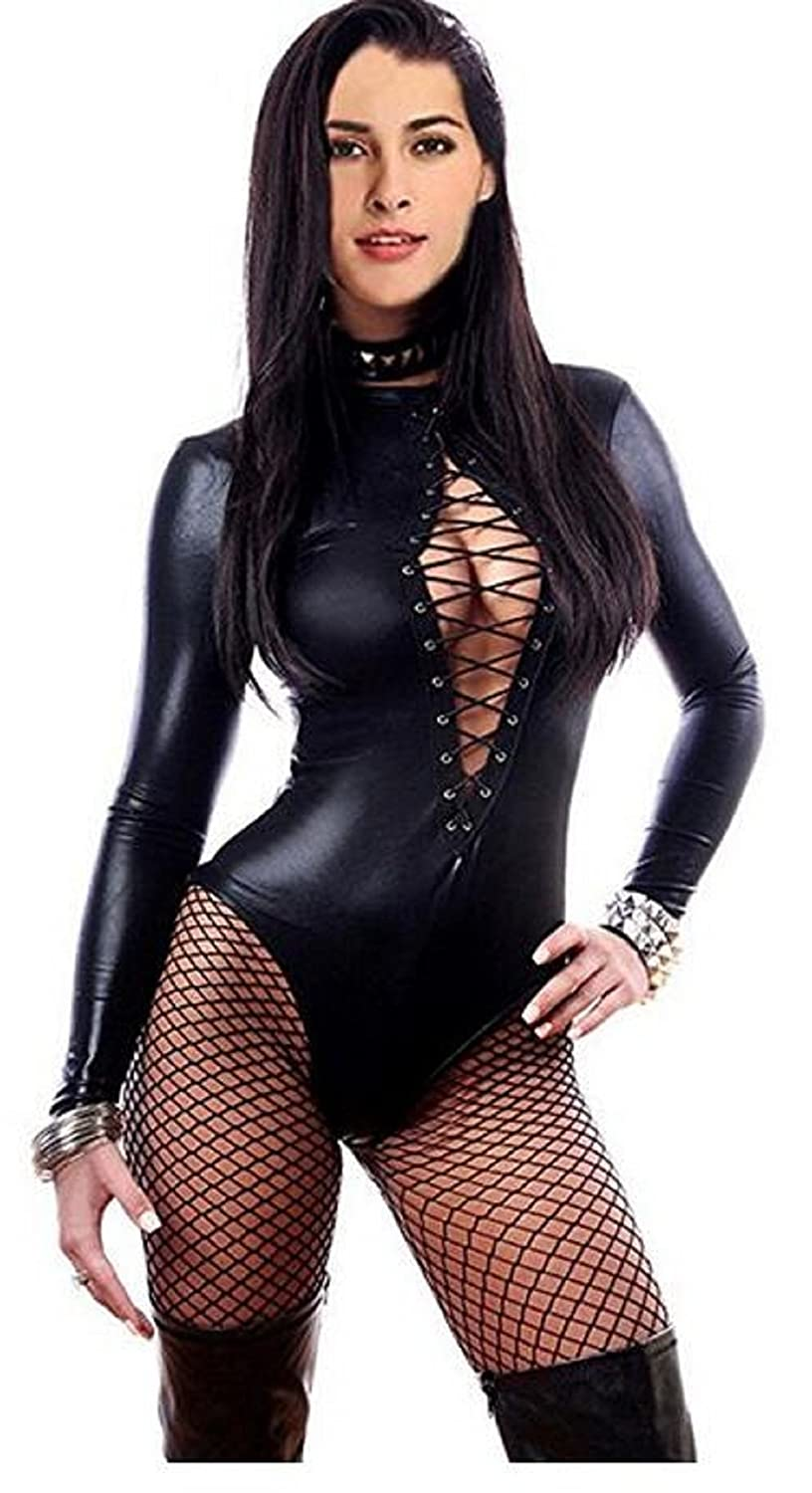 Amazon.com  Lorembelle Queen Women s Sexy Lace-up Front Bodysuit Leather  Teddy Lingerie Long Sleeve  Clothing aadd5ed8d