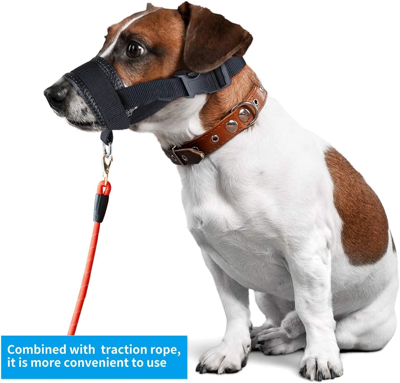 S Ladren y Mastiquen Bozales para Perros de Malla Bozal de Nailon Suave para Evitar Que Los Perros Muerdan Cabestrillo Ajustable para Perros Peque/ños Medianos y Grandes Azul
