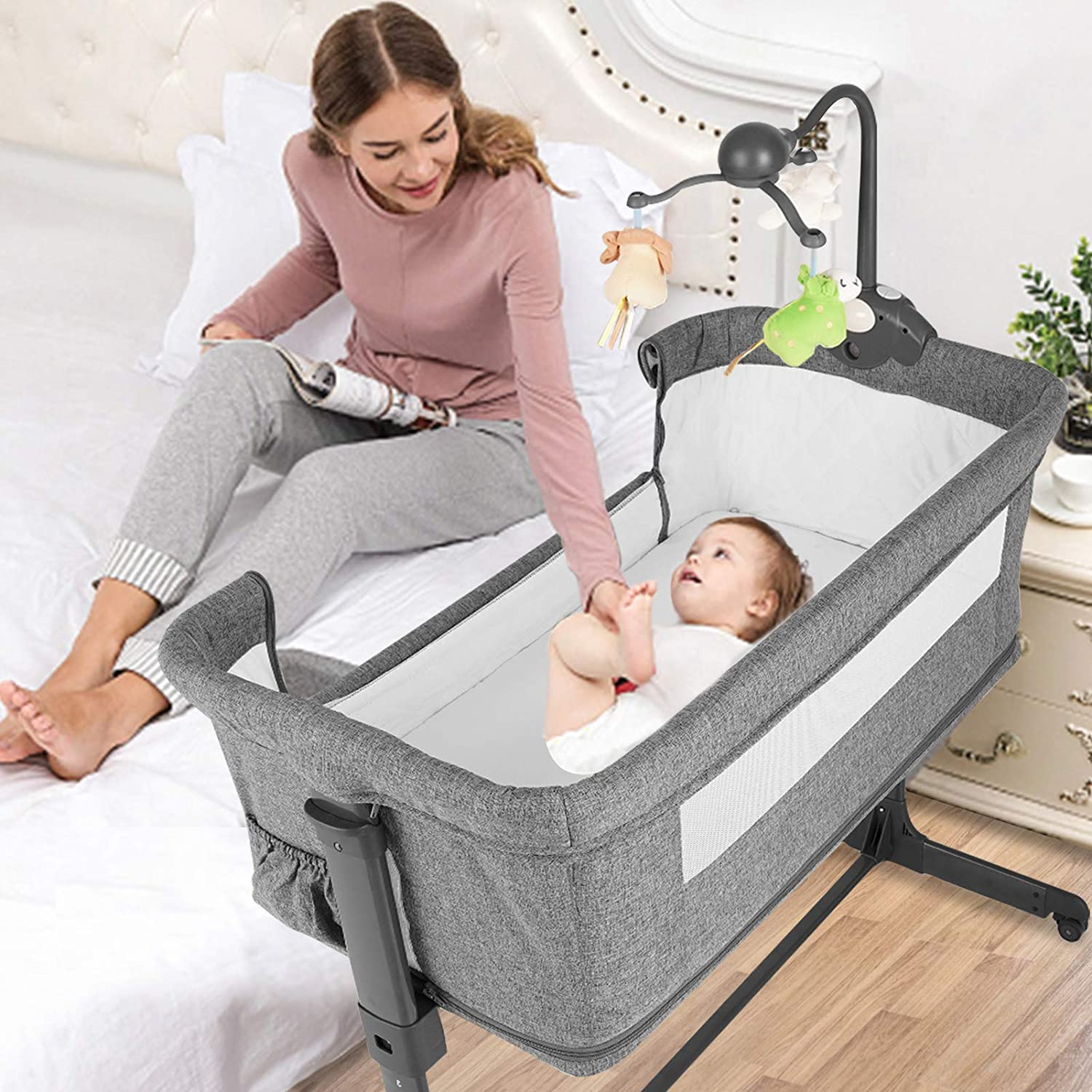 BANIROMAY 4 in 1 Baby Bassinet Beside Sleeper, Baby Travel Crib with Mattress, Adjustable Portable Baby Bed for Newborn Boys Girls