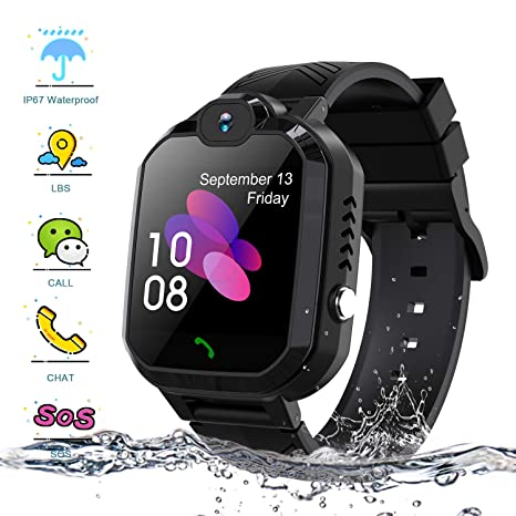 Enow Smartwatch Kids, IP67 Waterproof LBS Tracker Phone Smartwatches with SOS Two Way Call Game Watch Camera Alarm Smartwatch for Boys and Girls ...