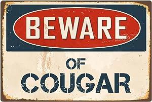 """StickerPirate Beware of Cougar 8"""" x 12"""" Vintage Aluminum Retro Metal Sign VS123"""