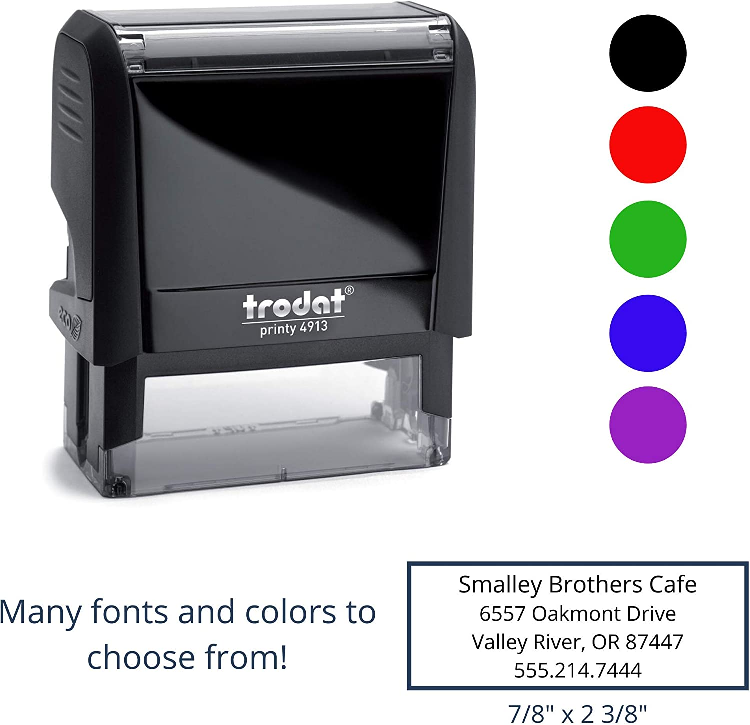 up to 4 Lines with 15 Font and 5 Color Options 7//8 x 2-3//8 Medium Personalized Custom Self Inking Rubber Stamp